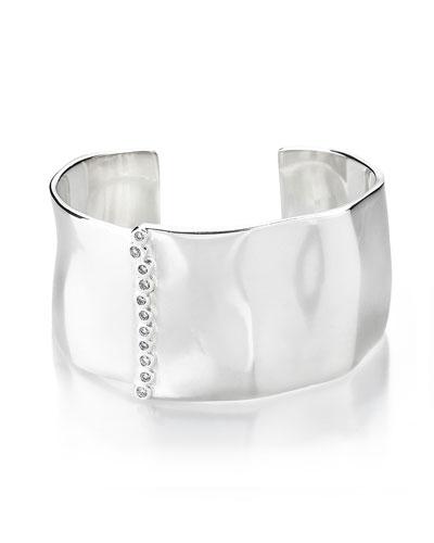 925 Glamazon Wide Uneven Cuff Bracelet w/Diamond Bezels