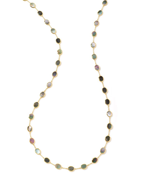 """Polished Rock Candy 18k Gold Confetti Necklace 36"""", Mother-of-Pearl"""