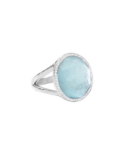 Stella Lollipop Ring in Blue Topaz & Diamonds, 0.23ct