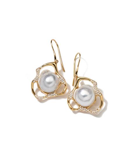 Stardust Perla Drop Earrings with Diamonds