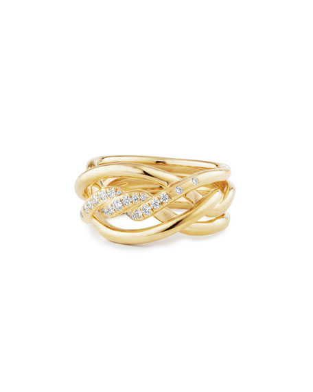 David Yurman 11.5mm Continuance 18K Ring with Diamonds,