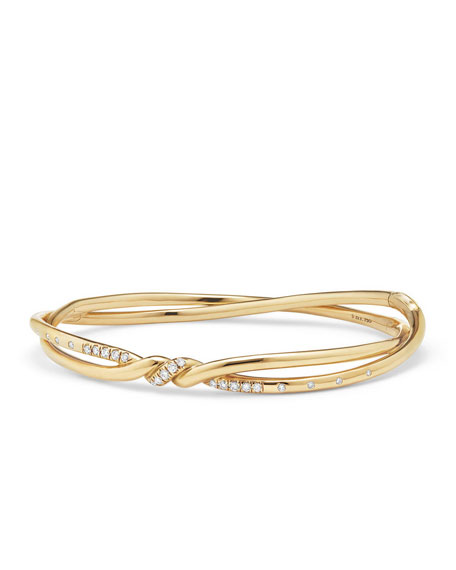 Continuance 18K Gold Twist Bracelet with Diamonds, Size L