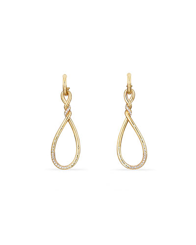 18k Gold Continuance Large Drop Earrings w/ Diamonds