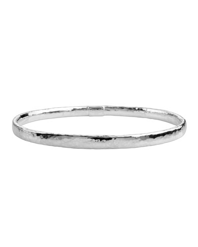 Thin Hammered Silver Bangle