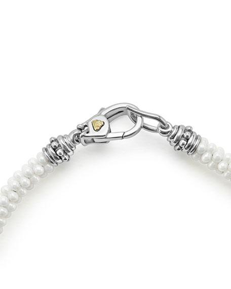 5mm 18K White Gold & Ceramic Caviar Bracelet