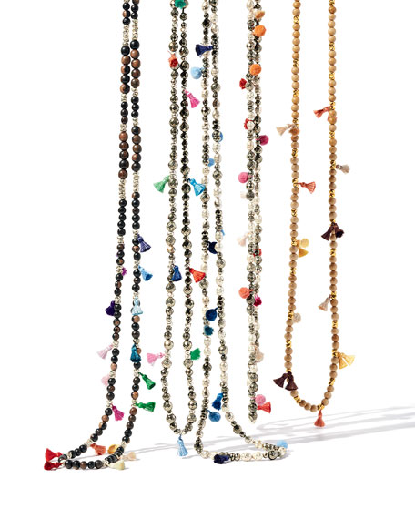 Bella Beaded Tassel Necklace, 42""