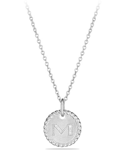 M Initial Necklace with Diamonds
