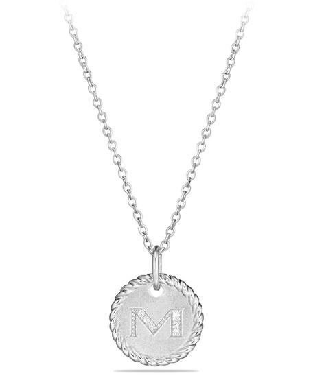 David Yurman M Initial Necklace with Diamonds