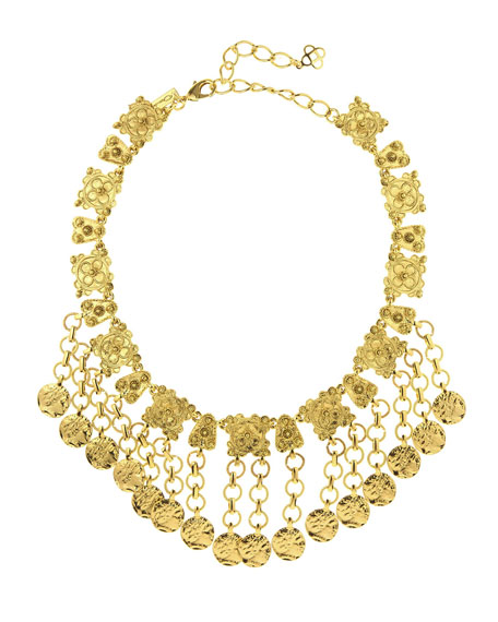 Oscar de la Renta Hammered Coin Charm Necklace