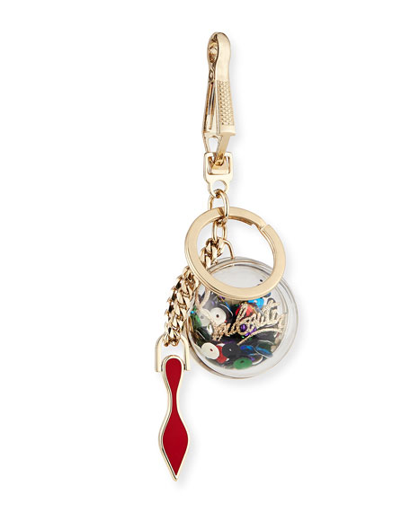 Christian Louboutin Golden Sequin Key Ring Bag Charm