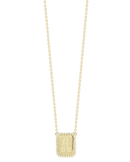 Personalized Tablet Pendant Necklace w/Diamond Border in 18K Gold