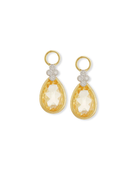 Jude Frances Provence Champagne Citrine Diamonds Earring Charms