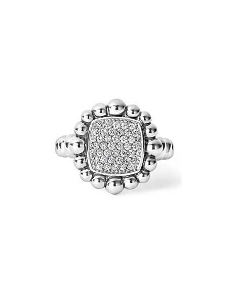 Sterling Silver Extra-Large Caviar Spark Ring with Diamonds, 0.41 tdcw, Size 7