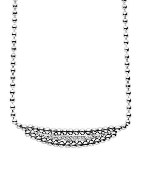 Lagos Caviar Spark Half Moon Necklace with Diamonds