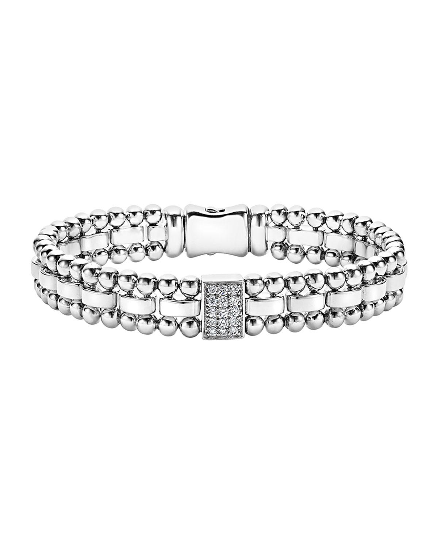 Lagos 7mm Caviar Spark Bracelet with Diamonds awrrBbGYA