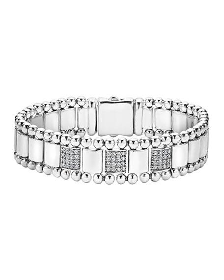 15mm Caviar Spark Bracelet with Three Diamond Stations