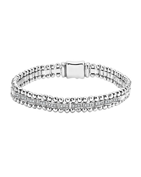 Lagos 7mm Caviar Spark Bracelet with Diamonds