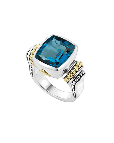 18K Gold And Sterling Silver Caviar Color Bezel Ring With London Blue Topaz