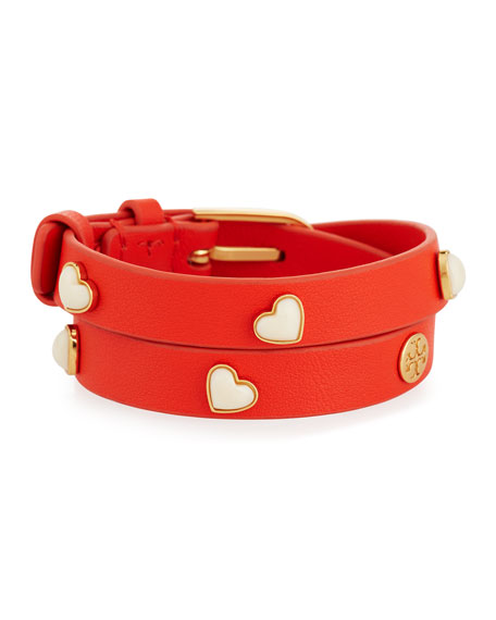 Amore Heart Leather Wrap Bracelet