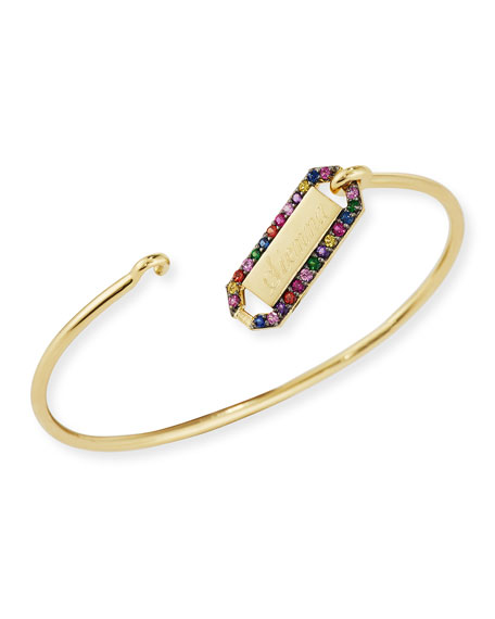 Personalized Prive Rectangle Bangle with Multicolor Stones in 18K Gold