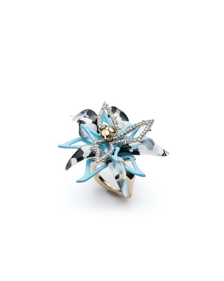 Alexis Bittar Layered Poppy Print Lucite Cocktail Ring