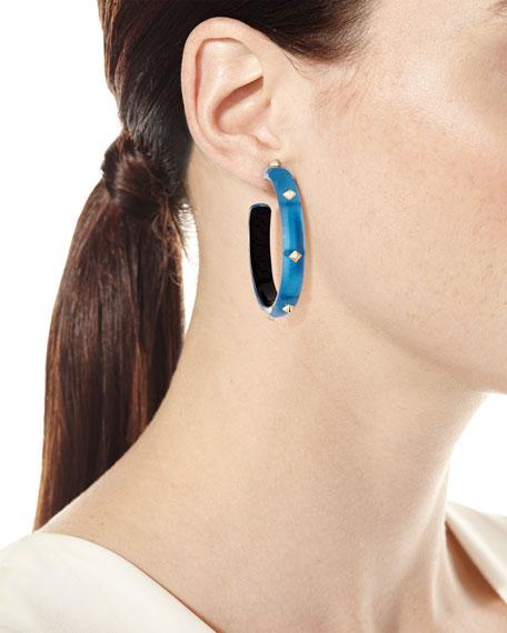 Lucite Pyramid Stud Hoop Earrings, Blue