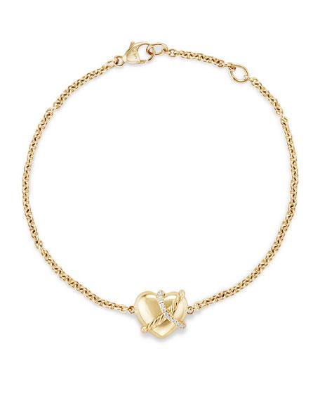 David Yurman Le Petit Coeur Sculpted Heart Chain Bracelet with
