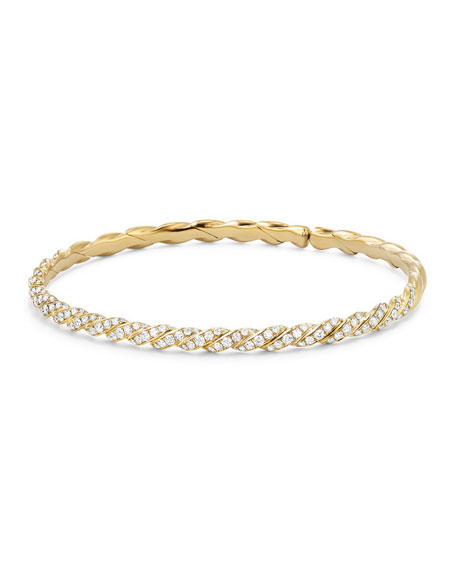 David Yurman 3.4mm Paveflex 18K Gold Bracelet with