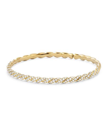 3.4mm Paveflex 18K Gold Bracelet with Diamonds, Size L