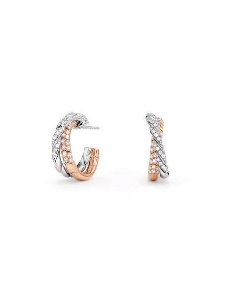 Paveflex 18K White & Rose Gold Hoop Earrings with Diamonds