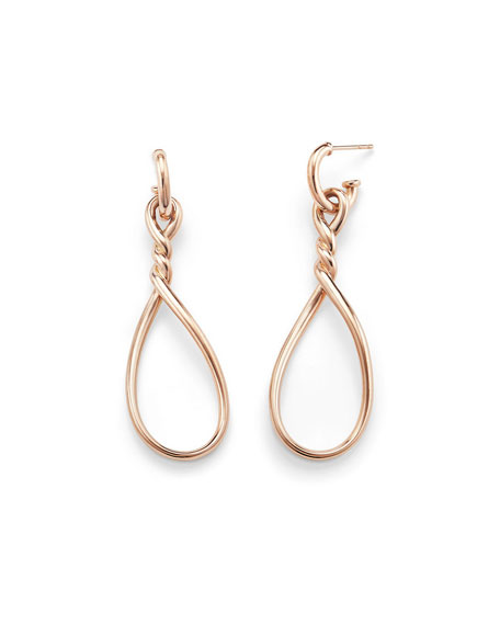 Continuance Twisted 18K Rose Gold Teardrop Earrings