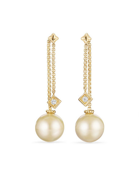 Solari Yellow South Sea Pearl & Diamond Chain Drop Earrings