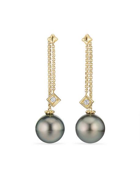 Solari Tahitian Pearl & Diamond Chain Drop Earrings