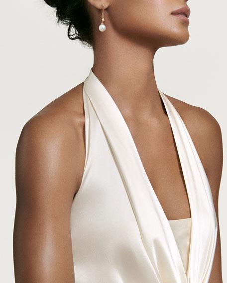 Solari White South Sea Pearl & Diamond Chain Drop Earrings