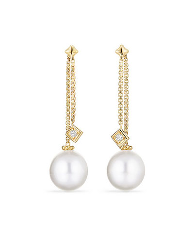 Solari White South Sea Pearl & Diamond Chain Drop Earrings