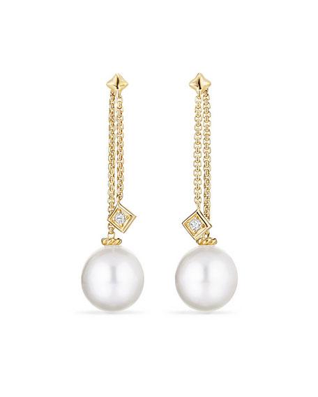 Solari White South Sea Pearl Diamond Chain Drop Earrings