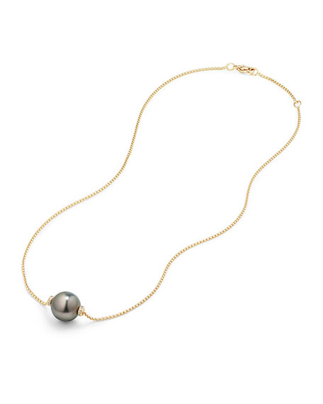 Solari 12mm Tahitian Pearl Station Necklace with Diamonds