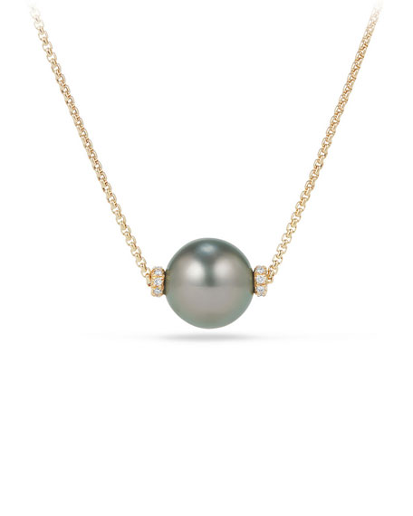 David Yurman Solari 12mm Tahitian Pearl Station Necklace