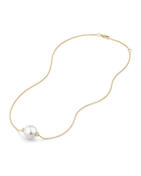 Solari 12mm South Sea Pearl Station Necklace with Diamonds