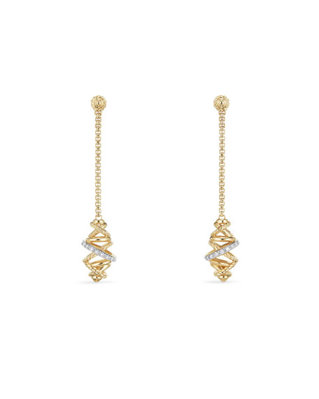 Crossover Chain Drop Earrings with Diamonds in 18K Gold