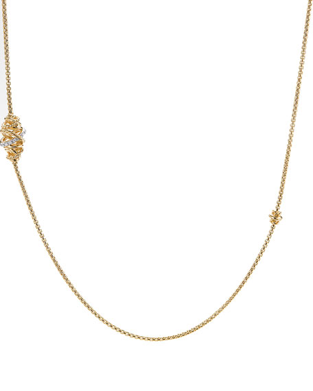 Crossover 18K Station Necklace with Diamonds, 36""