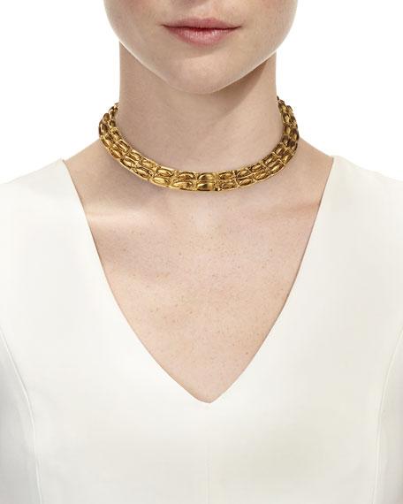 Opyum Croco Lariat Tassel Necklace, Black