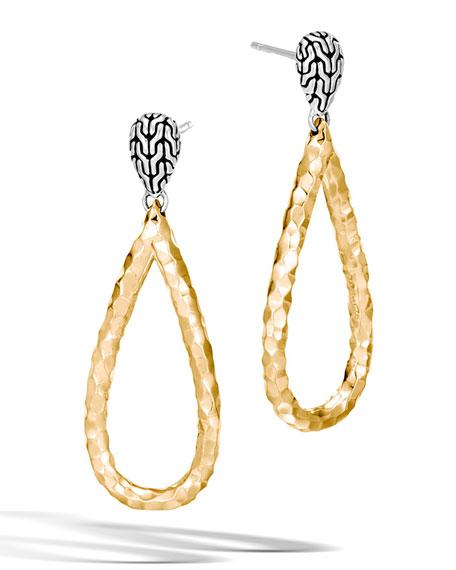 Classic Chain Hammered 18K Teardrop Earrings