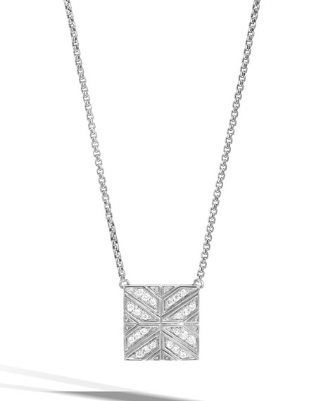 Modern Chain Diamond Box Pendant Necklace