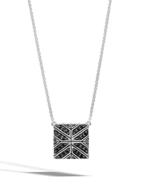 Modern Chain Black Sapphire Box Pendant Necklace