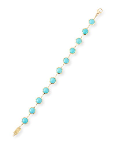 18K Lollipop Stone & Chain Bracelet in Turquoise