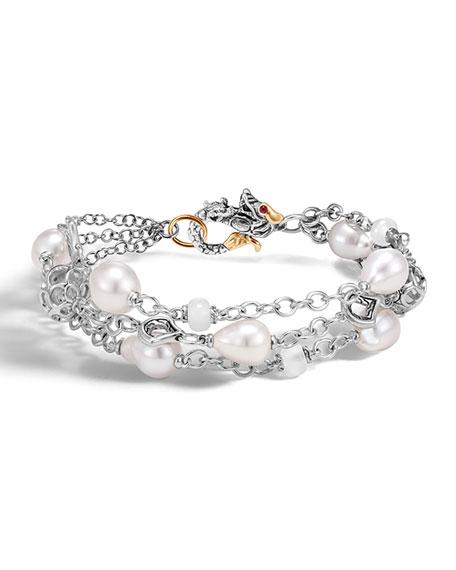 John Hardy Legends Naga Baroque Pearl Three-Row Bracelet