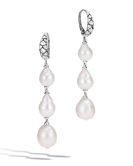 John Hardy Legends Naga Baroque Pearl Dangle Earrings