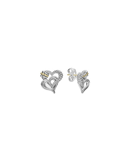Lagos Beloved Sterling Silver/18k Heart Earrings