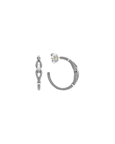 Lagos Derby Sterling Silver Caviar Hoop Earrings